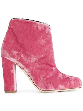 Malone Souliers Ankle boot de veludo e couro - Rosa
