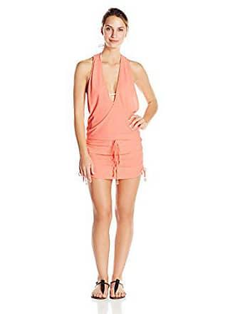 Luli Fama Womens Cosita Buena Racerback Mini Cover-Up Dress, Miami Peach, Medium