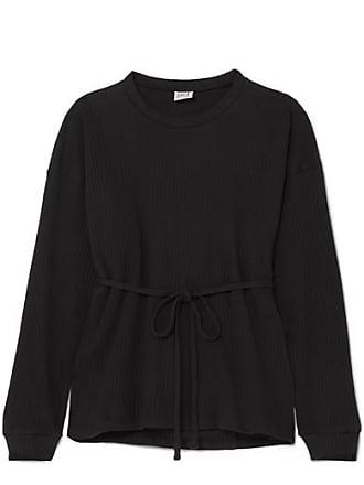 BASERANGE + Net Sustain Shaw Wrap-effect Ribbed Organic Cotton-fleece Top - Black