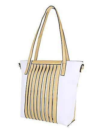 2593bb922073c Ital-Design Damen-Tasche Mittelgroße Schultertasche Handtasche Kunstleder  Gold Weiß TA-A171
