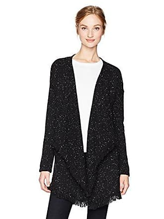 NYDJ Womens Tweed Cascade Sweater Cardigan, Black/Sugar, Large