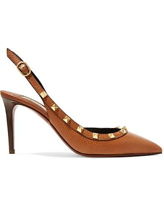debc2223175c8 Valentino Valentino Garavani The Rockstud 85 Textured-leather Slingback  Pumps - Tan