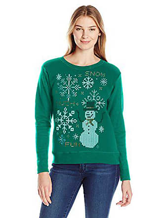 Hanes Womens Ugly Christmas Sweatshirt, Emerald Night Snow Much Fun, 2XL