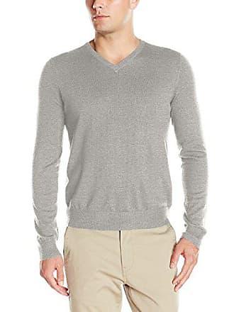 Izod Mens Fine Gauge Solid V-neck Sweater, New Light Grey Heather, X-Large