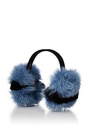 Barneys New York Womens Fox Fur Earmuffs - Blue