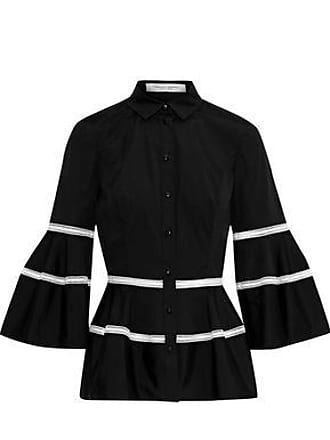 f7c734696284c8 Carolina Herrera Carolina Herrera Woman Crochet-trimmed Cotton-blend Poplin  Peplum Shirt Black Size