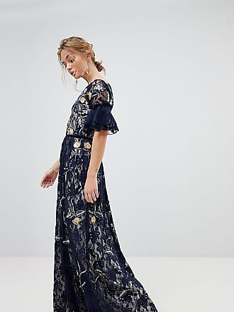 Frock and Frill Frock And Frill Allover Floral Embroidered Lace Maxi Dress With Flutter Sleeve - Navy