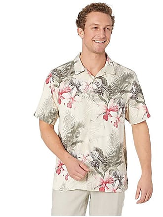 28c49e96 Tommy Bahama Shadows In Paradise Hawaiian Camp Shirt (Coconut Cream) Mens  Clothing