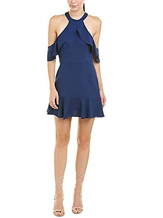 Bcbgmaxazria BCBGMax Azria Womens Cold Shoulder Ruffle Halter Dress, Blue Depth, 12