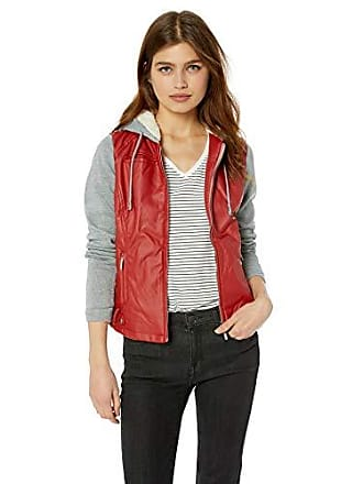 Yoki Womens Faux Leather Jacket with Fleece Sleeves and Hood, RED, Large