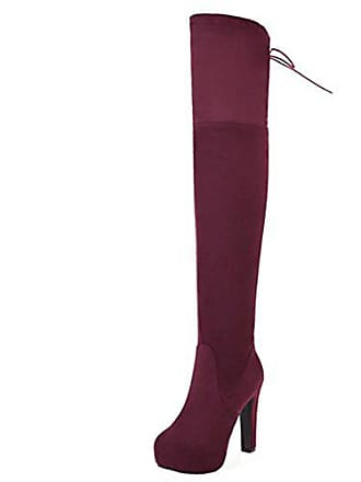 2ea45dc4cf75b3 Aiyoumei Damen Stretch Overknee Stiefel mit Plateau Stiletto High Heels  Langschaft Stiefel Schuhe