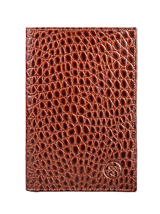 Maxwell Scott Maxwell Scott - Luxury Tall Breast Pocket Wallet in Tan Mock Croc Leather