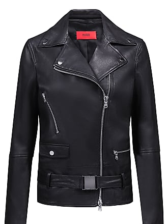6620f0f3 HUGO BOSS Relaxed-fit leather jacket with buckled belt