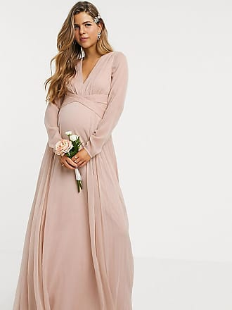 Asos Maternity ASOS DESIGN Maternity Bridesmaid ruched waist maxi dress with long sleeves and pleat skirt-Navy