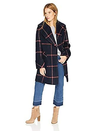 Kendall + Kylie Womens Oversize Collar Wool Coat, Navy/red Plaid, Small