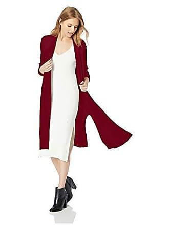 Jones New York Womens L/SLV Open Front Cardigan W/Slits, Mulled Wine, XS