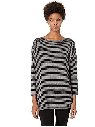Eileen Fisher Bateau Neck Bracelet Sleeve Top w/ Side Slits (Ash/Black) Womens Clothing