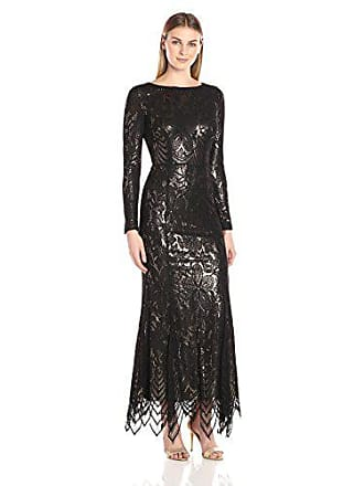 db3ff2a735 JS Collections Womens Long Sleeve Lace Metallic Gown