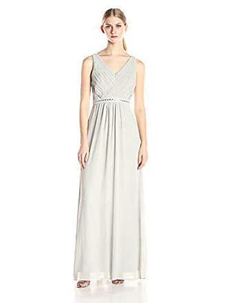 Minuet Womens Pleated Front Embellished Waist Long Gown, Light Grey, Medium