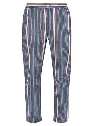 29a723acae P. Le Moult Striped Herringbone Cotton Pyjama Trousers - Mens - Navy