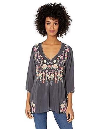 b886339c03 Johnny Was Womens 3 4 Sleeve Embroidered V-Neck Blouse