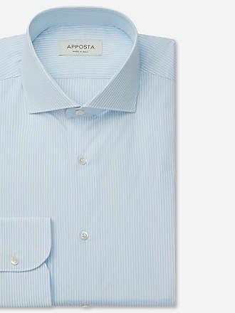 Apposta Shirt stripes cyan 100% pure cotton fil-à-fil, collar style lower spread collar