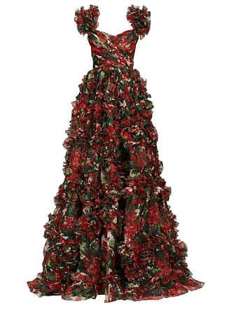 23897b7b Dolce & Gabbana Ruffled Geranium Print Silk Organza Gown - Womens - Red  Multi