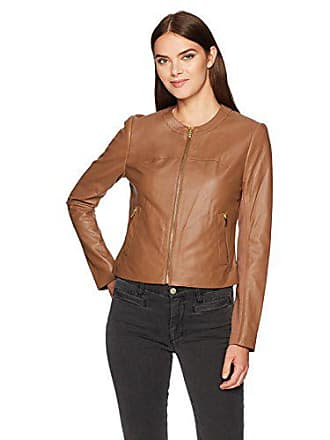 Via Spiga Womens Collarless Leather Jacket, Sand/Ponte Back, X-Large