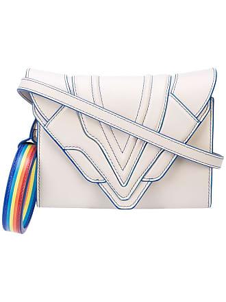 b08bbe546 Elena Ghisellini Bolsa tiracolo Rainbow de couro - Cinza
