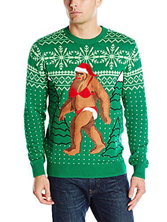 Alex Stevens Mens Bikini Sasquatch Ugly Christmas Sweater, Green, Large