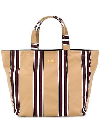 Msgm striped canvas maxi shopper - Brown