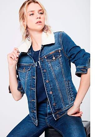 Damyller Jaqueta Trucker Jeans com Gola de Pelo Tam: GG/Cor: BLUE
