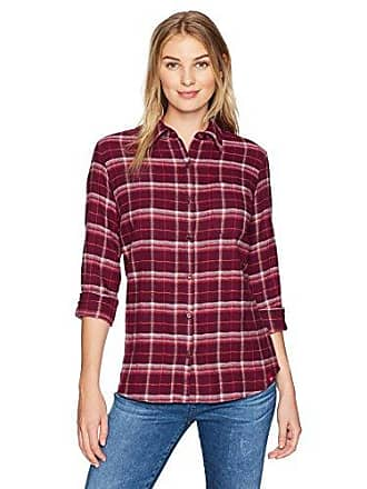 Dickies Womens Long Sleeve Shirt, Burgundy/Diesel Gray Plaid, S