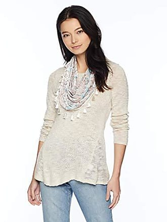 Oneworld Womens Petite Long Sleeve Hi Lo Hem Sweater with Attached Scarf, Corner Reach- Pale, PM