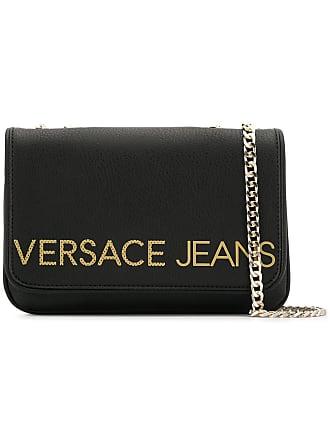 Versace Jeans Couture Bolsa com logo e corrente - Preto