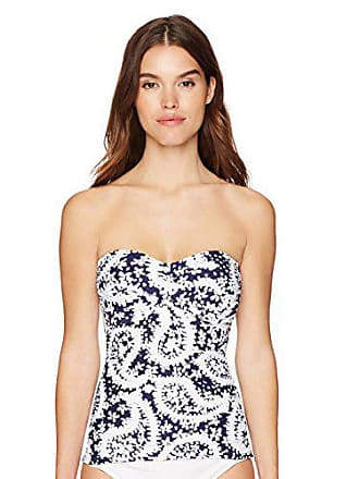 9ea81bc7598 Anne Cole Womens Twist Front Shirred Bandeau Tankini Swim Top, Navy/White  Paisley,