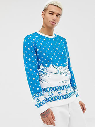 Asos Holidays sweater with ski design in blue - Blue