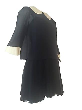 de57149079d James Galanos 1960s Galanos 2-piece Black Silk Chiffon Mini Dress With  White Collar And