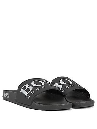 49b2b4957f593 BOSS Italian-made rubber slide sandals with contrast logo