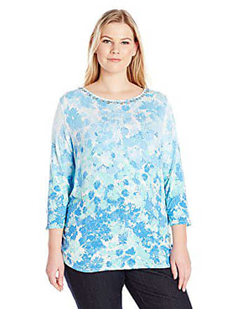 Ruby Rd. Womens Floral 3/4 Sleeve Knit Top with Double Side Ruching, Azure Multi, L