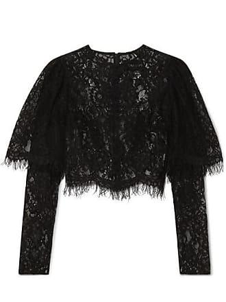 Rasario Cropped Lace Top - Black