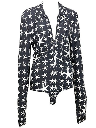 Versace Couture Black With White Stars Long Sleeves Bodysuit Top 2ff17bcb0