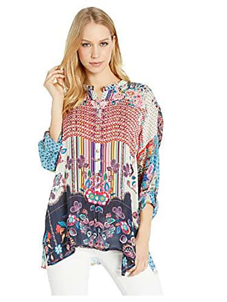 Johnny Was Womens Oversized Patterned Silk Button Up with Collar, Multi, S