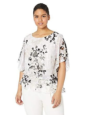 d852be9fd04495 Alex Evenings Womens Plus Size Asymmetric Tiered Chiffon Blouse Shirt,  White/Black/Lilac