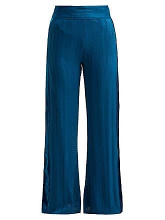 Zeus + Dione Alcyone Side Stripe Silk Blend Trousers - Womens - Mid Blue