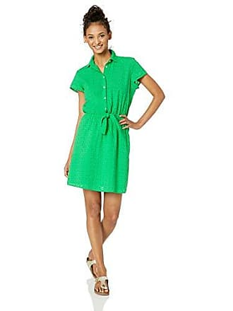 J.crew Womens Short-Sleeve Eyelet Collared Tie Front Dress, Vintage Kelly, S