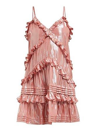 Rebecca Taylor Ruffled Silk Blend Lamé Mini Dress - Womens - Light Pink