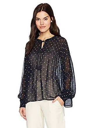 Lucky Brand Womens Smocked Top, Navy Multi, S
