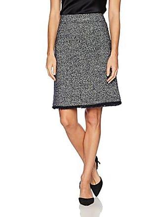 Ellen Tracy Womens Tweed A-line Skirt with Fringe Trim, Night Sky Multi, 8