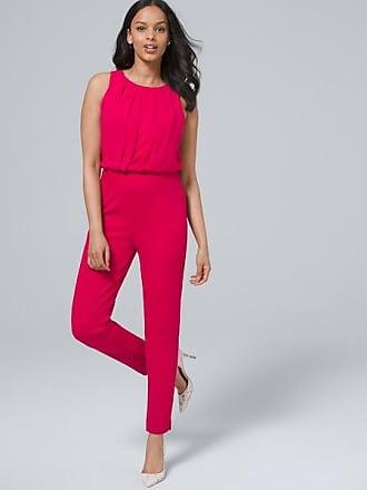 White House Black Market Womens Chiffon Jumpsuit by White House Black Market, Pink Thrill, Size 00